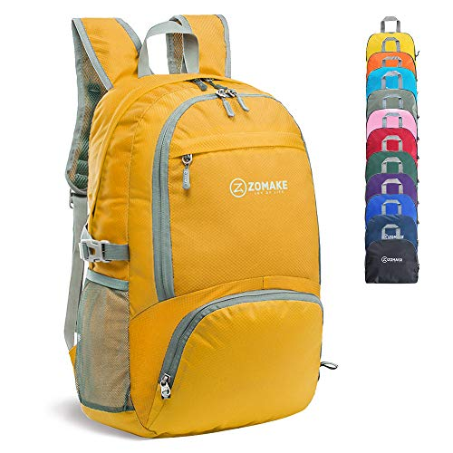 ZOMAKE 30L Lightweight Packable Backpack Water Resistant Hiking Daypack,Small Travel Backpack Foldable Camping Outdoor Bag Chartreuse