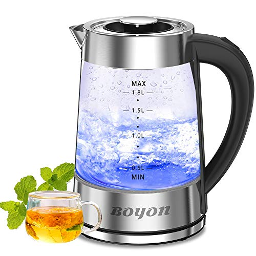 1.8L Electric Kettle 1500W BPA Free, Glass Electric Tea Kettle with Stainless Steel Inner Lid, Bottom, LED Indicator Light, Auto Shut-Off & Boil-Dry Protection