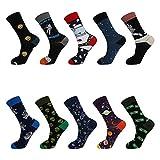 Achort 10 pares de calcetines divertidos para hombre, calcetines de becerro, coloridos calcetines de algodón estampados funky