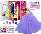 ZITA ELEMENT Lote 34 = 1 armario + 1 falda de gasa púrpura + 2 vestidos + 2 trajes de baño + 3 mini vestidos + 10 collares + 5 zapatos + 10 perchas para ropa de niña de 11.5 pulgadas