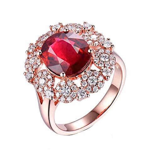 AnazoZ Anillo Turmalina Mujer,Anillo Oro Rosa 18K Oro Rosa y Rojo Oval Flor Turmalina Rojo 4ct Diamante 1.01ct Talla 15