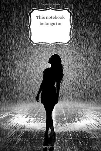 Notebook: Girl in Rain, 100pages, 6'x9' (15x22cm), wide ruled notebook