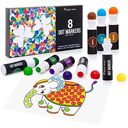 8 개의 착색 마커가있는 도트 마커 - 300 개의 도면이있는 전자 책 - 착색을위한 수성 잉크 DAB 펜 - 엉망으로 착용감 - 키즈 닷트 아트 - 빙고 대처 - 아이들을위한 도트 화가