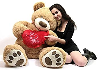 I Love ❤ You 5 Foot Giant Teddy Bear Soft Holds Big Plush Heart Embroidered I ❤ You