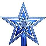 VALICLUD Adorno de Árbol de Navidad Estrella con Brillo Adorno de Árbol de Navidad Adorno Decorativo de Estrella de Árbol de Navidad para Decoración de Árbol de Navidad Navideño (Azul
