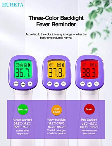 Termometro febbre infrarossi HUHETA Termometro digitale infrarossi Termometro frontale Auricolare febbre per Adulti, Bambini