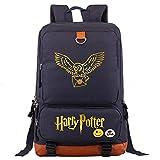 NYLY Mochila de Harry P portátil, Hogwarts College Potter Rucksack, búho Casual Moda Bolsa de Escuela M Azul Marino