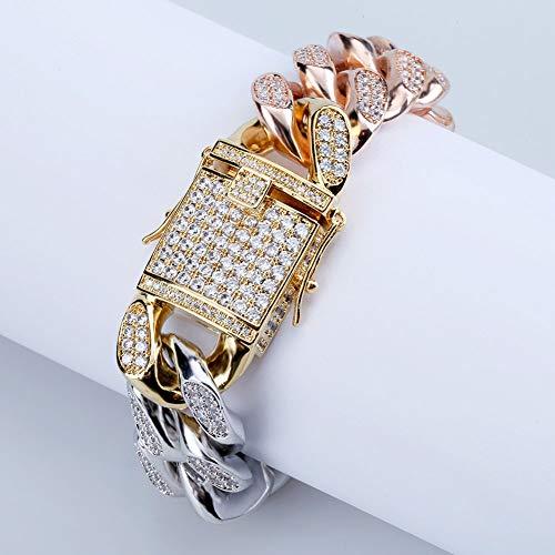 Hip-hop driekleurige regenboog gouden Cubaanse ketting armband, lange gesp hoofd mannen en vrouwen armband sieraden en liefde mode verjaardag cadeau aan vriend moeder.