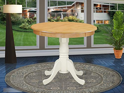 East West Furniture ANT-OLW-TP Antique Dinner Table - Oak Table Top Surface and Linen White Finish legs Solid Wood Frame Mid-Century Dining Table