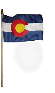 ALBATROS (Pack of 3) 6x9 6ftx9ft State of Colorado Stick Flag with Wood Staff for Home and Parades, Official Party, All Weather Indoors Outdoors