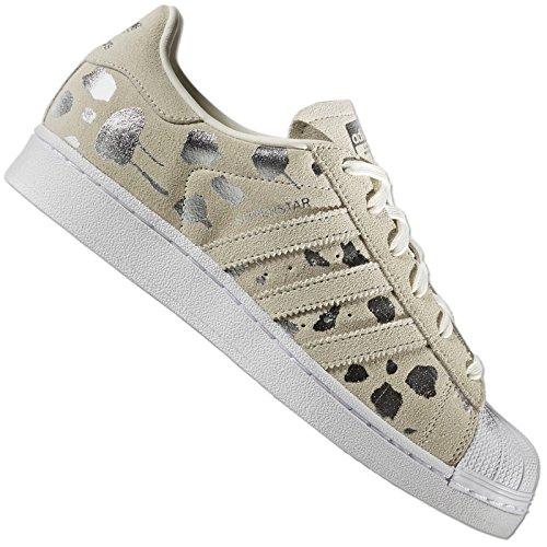 adidas Originals Superstar II s76153 Scarpe di Cuoio Beige Metallizzato Oro Leopardo - Grigio, 39 1/3 EU