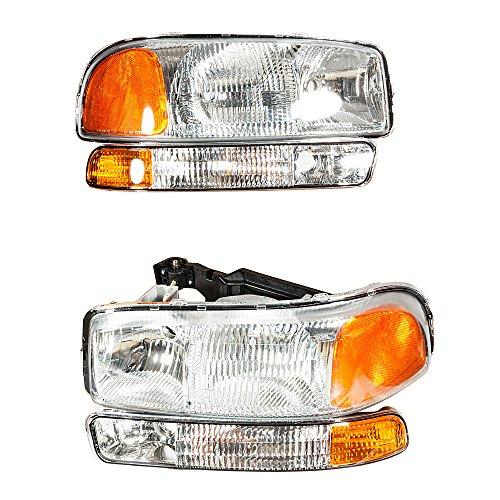 4Pcs Headlights Assembly + Bumper Corner Parking Lamps Compatible with GMC 1999-2006 Sierra 1500 & 2001-2004 Sierra 2500 & 2001-2006 Sierra 3500 & 2000 2001 2002 2003 2004 2005 2006 GMC Yukon
