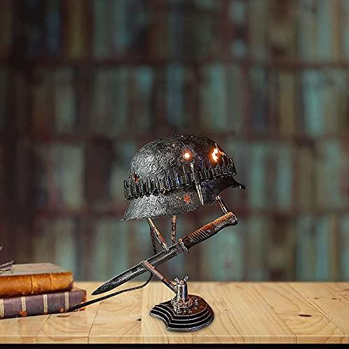 LEERAIN Luz Industrial LED Vintage, luz Nocturna para Amantes Militares, Estatua de lámpara de Mesa Hecha a Mano del Casco de la Segunda Guerra Mundial y Bayoneta, Utilizada para Regalo de Recuerdo