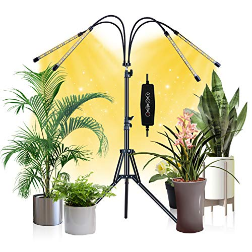 Smileshe Grow Lights for Indoor Plants Full-Spectrum, 80W 4-Heads Leds Bulb Growing Lamp, 3 6 12H Timer, 3 Modes 9 Dimmable Level, Tripod Stand Adjustable 15-59 in