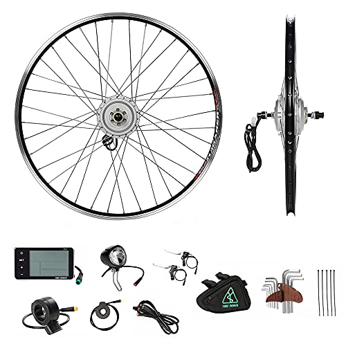 "YOSE POWER Elektrofahrräder Hub Motor Front Wheel 36V250W 28\"" Fahrrad E-Bike Conversion Kit 28 Zoll Silber mit LCD Display"