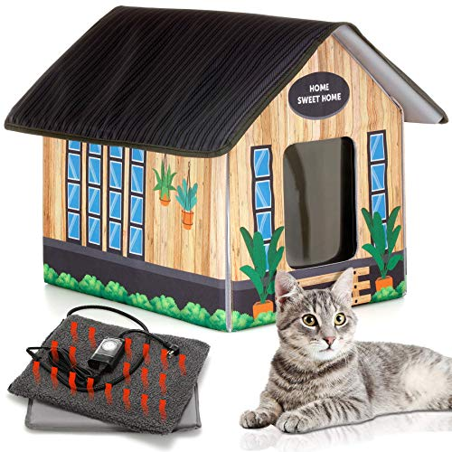 PETYELLA Outdoor Cat House Feral Cat Shelter (Heated) - Easy to Assemble - Cat...