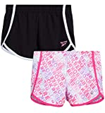Reebok Girls' Active Shorts - Lightweight Athletic Fleece Shorts (2 Pack), Size 7, Multi Pink/Black