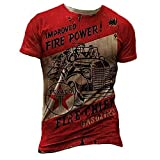 Camiseta con Estampado de Letras de Potencia de Fuego Mejorada para Hombre Camiseta de Manga Corta con Aceite de Motor Camisetas de Motociclista