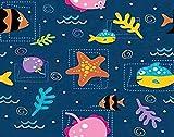 Y·JIANG Pintura por números, lindos dibujos animados animales bajo el agua azul océano DIY lienzo acrílico pintura al óleo por números para adultos niños decoración de pared del hogar, 50 x 50 cm