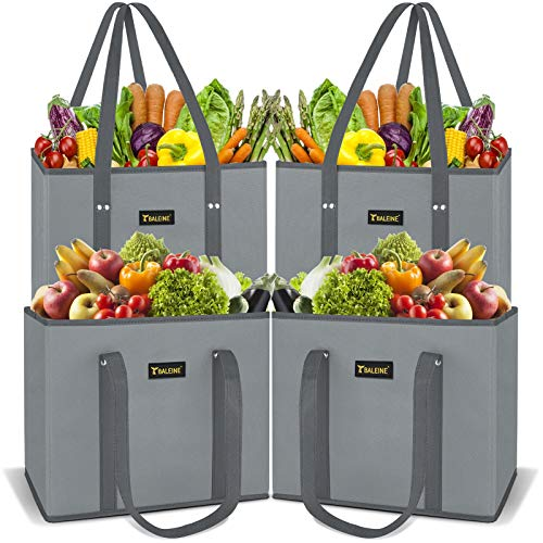 BALEINE 4 Pack Reusable Grocery Shopping Box Bag Set with Reinforced Bottom & Handles, Large Heavy Duty Eco Friendly Collapsible Foldable Bags in Bulk Fit in Shopping Cart (Gray)