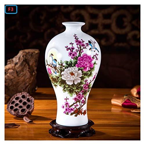 OMING Jarrones Jingdezhen jamones cerámicos cerámica decoración Sala de Estar arreglo Flor Moderno hogar Simple televisión gabinete de cerámica Regalo Florero de cerámica (Color : V)