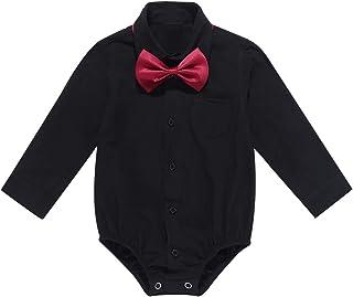 iEFiEL Baby Jungen Hemdbody mit Kragen und Fliege Langarm/Kurzarm Overall Baumwolle Strampler Weiß Hemd für Kleinkinder