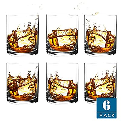 [6-Pack,11.8 Oz]DESIGN•MASTER-Premium Short Whiskey Glasses, Rock Style Old Fashioned Glasses for Scotch, Bourbon, Cocktails, Rum, Durable Whiskey Glasses for Party , Camping