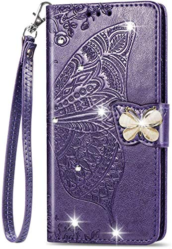Unichthy Samsung Galaxy S30 Ultra Hülle für Mädchen Glitzer Sparkle Bling Handyhülle 3D Gems Schmetterling Stoßfest Leder Wallet Flip Schutzhülle Folio Notebook Shell Lila