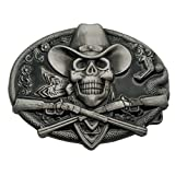 YONE Western Cowboy Skull Pirate Rifles Belt Buckle Black Gürtelschnallen