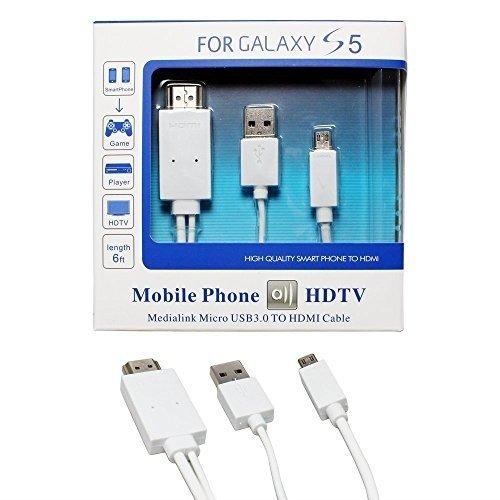 KSRplayer® MHL 11 Pin Micro USB a Hdmi Cable Adaptador 1080p Hdtv para Samsung Galaxy S5, S4, S3, Note 3, Note 2, Galaxy Tab 3 8.0, Tab 3 10.1, Tab Pro, Galaxy Note 8, Note Pro 12.2 6 Pies (Blanco)