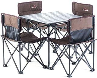 Yilucess「1年保証」 キャンプロールテーブル キャンプ イス アウトドアテーブルチェアセット 折り畳み式テーブル 組み立て簡単 超軽量 収納便利 耐荷重80kg アウトドア用 アルミ製 収納ケース付き