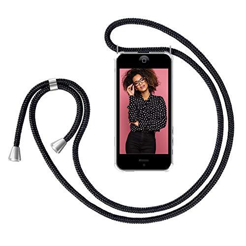 ZhinkArts Handykette kompatibel mit Apple iPhone 5 / 5S / SE (2016) - Smartphone Necklace Hülle mit Band - Handyhülle Case mit Kette zum umhängen in Schwarz