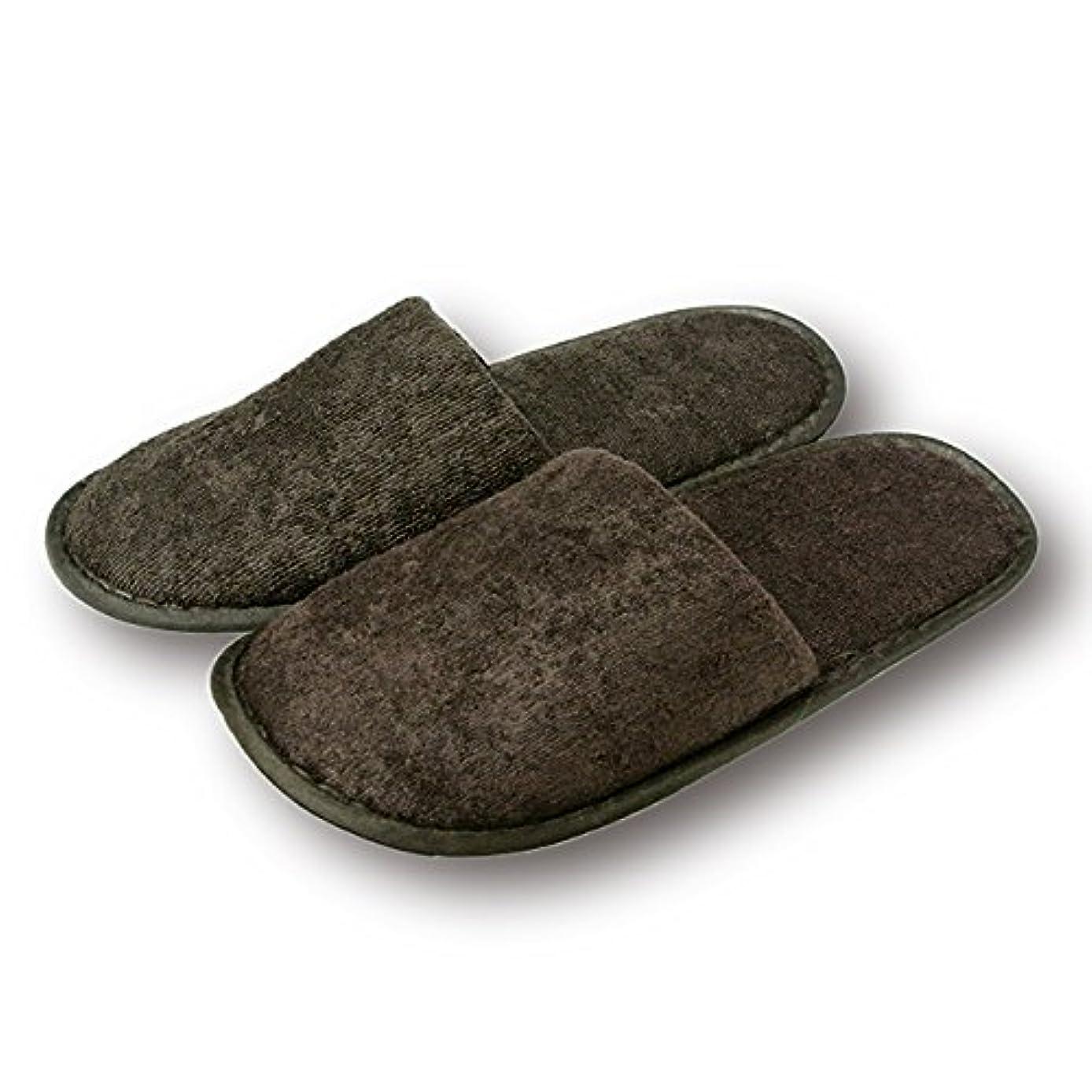 結晶複製磁器使い捨て高級ソフトスリッパ 茶 巾着入り 10足