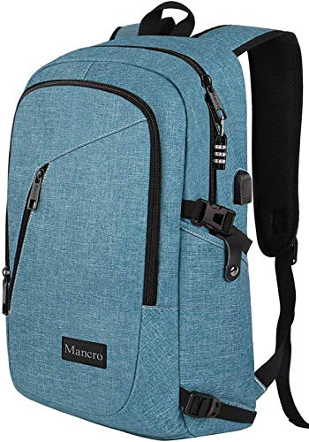 """Mancro School Backpack for Women, Anti Theft College Student Backpack with USB Port, Slim Lightweight Laptop Backpack, Water Resistant Rucksack for Work Campus Fit 15.6"""" Computer (Crest Blue)"""