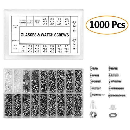 ZOEON Brille Schrauben, 1000 Stück Brille & Uhr Reparatur Schrauben Ersatzkit Set Mini Schrauben fuer Brille Uhren Schraube + Schraubendreher Werkzeug