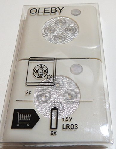 【 限定 】 IKEA OLEBY センサーライト2個入 (白)