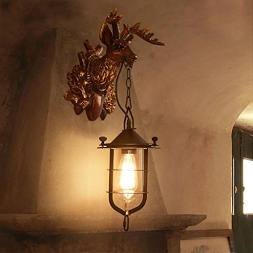 Rétro éolienne industrielle salon lampe murale chambre bar café lampes décoratives personnalité créative Wall Deer