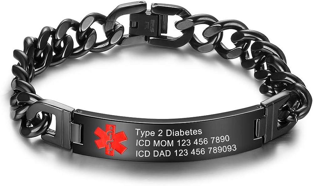 Medical Alert Bracelet for Women Complete Free Shipping Men Adjustable ID Brace Cheap sale