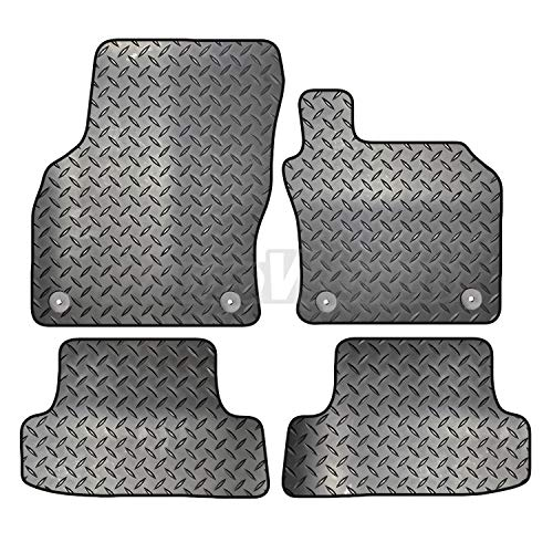Carsio Tailored 4 Piece Rubber Car Mat Set FOR Audi A3 2012 to 2018 (8V) 4 Clips
