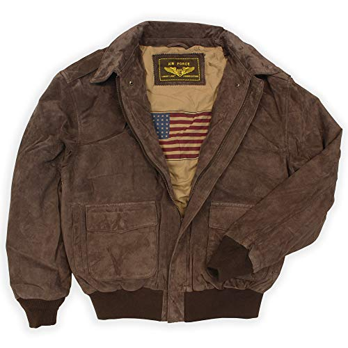 Landing Leathers Men's Air Force A-2 Suede Leather Flight Bomber Jacket Brown Medium