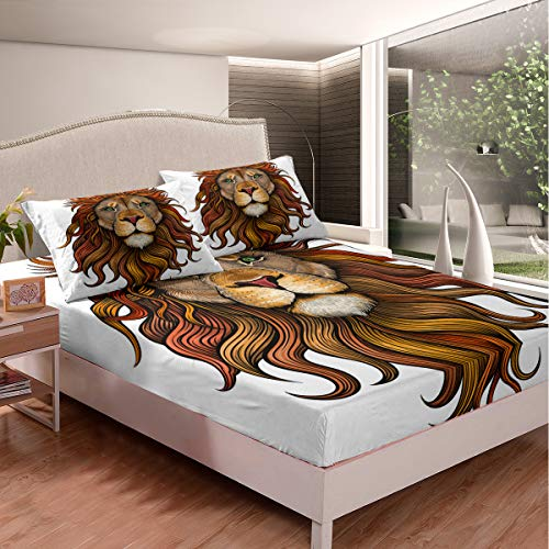 Lion Fitted Bed Sheets Sets Lion King Gold White Bedding Sets Twin 2pcs (1 Fitted Sheet & 1 Pillow Case) Casual Style Fitted Sheets Twin Size Deep Pocket for Boys Children Girl Kids