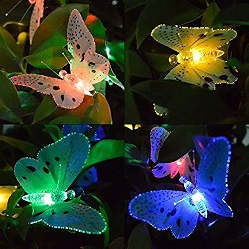 Volar 12 Led Solar Powered mariposa de fibra óptica secuencia de hadas Luces de Navidad a prueba de agua al aire libre Jardín de vacaciones luces de la decoración (Potencia: 12 LEDs) (Tamaño: 12 LEDs)