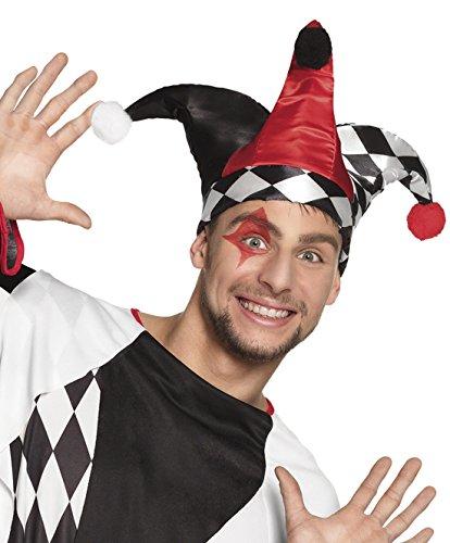 erdbeerclown - Harlekin Kasper Hut mit Bommel drei Zipfel Kasperle Joker Kostüm, Mehrfarbig