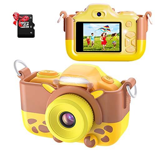 ShinePick Cámara para niños, cámara digital para niños, 16 MP, HD, pantalla de 2.0 pulgadas, cámara de vídeo selfie, con funda de silicona de dibujos animados y tarjeta micro SD para niños (amarillo)