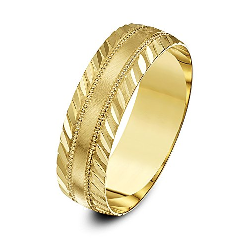 Theia 9 ct Yellow Gold Heavy Weight, Millgrain Centre and Diagonal Design Edge, D-Shape 6 mm Wedding Ring - Size V