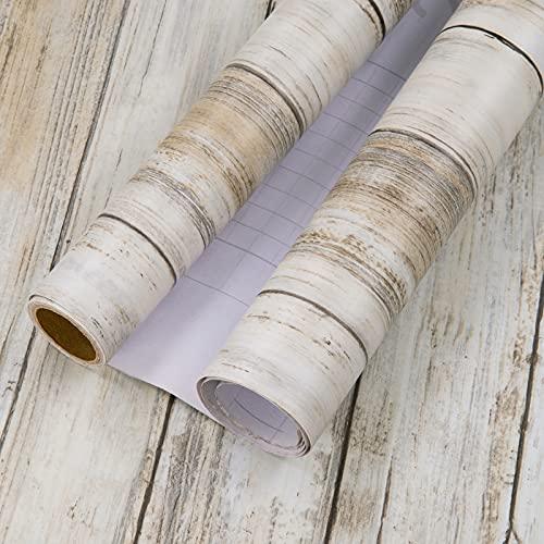 MEIBAN Klebefolie Holz Selbstklebende Möbelfolie 45cmX2m Retro Stil Braun Holzoptik wasserdichte Dekorfolie für Küche Schränke Arbeitstisch Wand Tapeten
