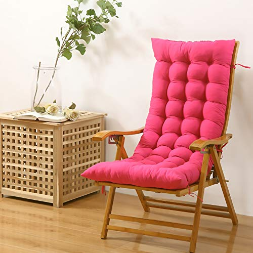 Foldable Chair Lounger Cushion Seat Cushion,Washable Rocking Chair Cushion High Back Anti-Slip Chair Pad Rocking Chair Cushion Pink 48x120cm(19x47inch)