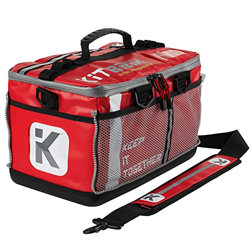 KITBRIX Sports Gear Kit Bag - Waterproof Bag for Swimming, Cycling, Running, Gym, Football, Soccer, Triathlon Transition, Obstacle Course Racing - Red