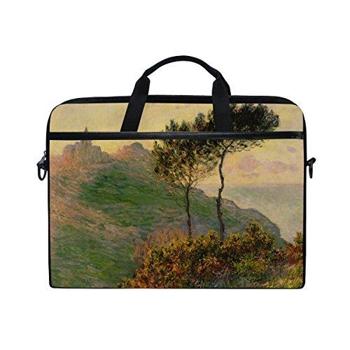 Ahomy Monet 's Church at Varengeville gegen die Sonne 35,6–39,1cm Multifunktional Stoff wasserdicht Laptop Tasche Aktentasche Schultertasche Messenger Bag