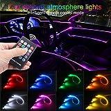 TABEN Luz Ambiental RGB Control Remoto Coche Atmósfera Lámpara de luz Suave DIY Reajuste 4m Banda de Fibra óptica 64 Colores...